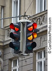 Traffic lights in a town - Overhead traffic light showing...