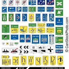 Set of road signs. Signboards.