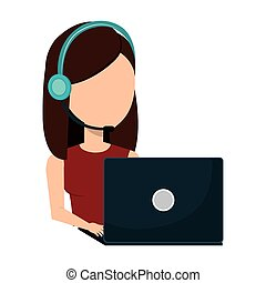 businesswoman character operator call center icon