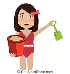 girl with sand bucket toy vector illustration design