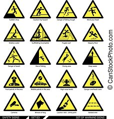 Set of safety signs. Caution signs. - Collection of warning...