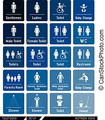 Set of toilet signs. Toilet labels.