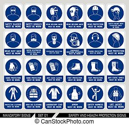 Set of safety and health protection signs. - Mandatory...