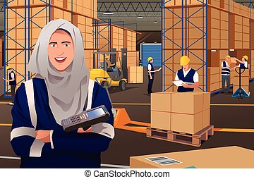 Muslim Woman Working in a Warehouse - A vector illustration...