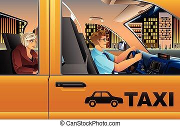 Taxi Driver Driving a Passenger