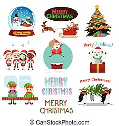 Christmas Icons and Cliparts - A vector illustration of...