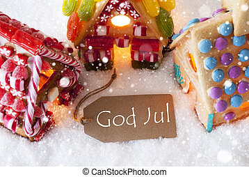 Colorful Gingerbread House, Snowflakes, God Jul Means Merry...