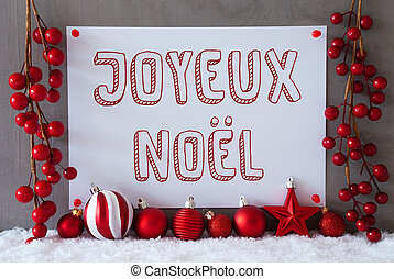 Label, Snow, Balls, Joyeux Noel Means Merry Christmas -...