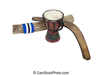 Boomerang, Drum and Rainstick - Djembe drum, rainstick and a...