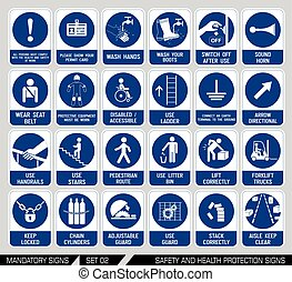 Set of safety and health protection signs.