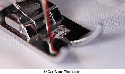 Sewing machine, sewing screening process. Close up. Slow...