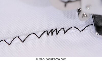 Different type of stitch on the change thread tension,...