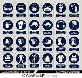 Set of safety equipment signs. - Mandatory construction and...