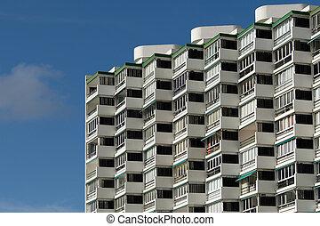apartment building facade - residential building exterior,