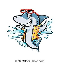 Cartoon Shark Beach - cartoon shark with beachwear and...