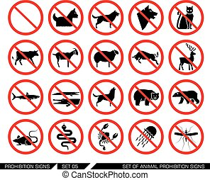 Set of animal prohibition signs.
