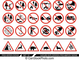 Set of nature exploitation prohibition signs - Collection of...