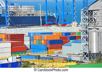 Port cargo crane, ship and container in port