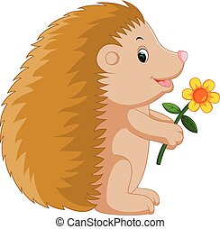 Cute hedgehog cartoon - illustration of Cute hedgehog...