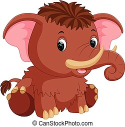 mammoth cartoon - illustration of cute mammoth cartoon