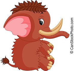 mammoth cartoon - illustration of mammoth cartoon