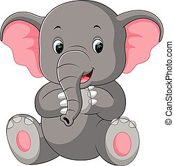 Cute elephant cartoon - illustration of Cute elephant...