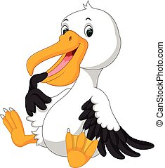 Cute pelican cartoon - illustration of Cute pelican cartoon