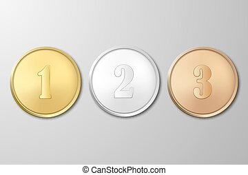 Vector gold, silver and bronze award medals set on gray background. The first, second, third prizes.