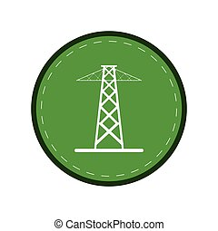 electrical tower transmission energy power green circle...