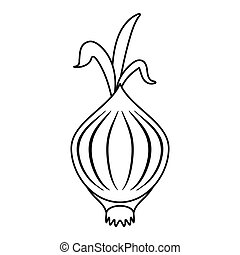 outline onion vegetable nutrition sprout icon vector...