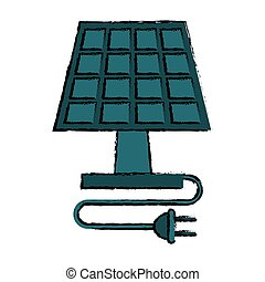 drawing solar panel plug energy ecological clean vector...