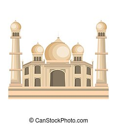 taj mahal india building vector illustration design
