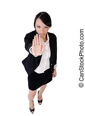 Business woman say no, full length portrait isolated on...