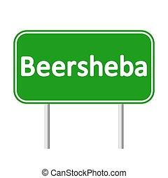 Beersheba road sign. - Beersheba road sign isolated on white...