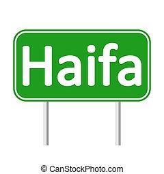 Haifa road sign. - Haifa road sign isolated on white...