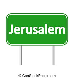Jerusalem road sign. - Jerusalem road sign isolated on white...