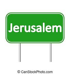 Jerusalem road sign. - Jerusalem road sign isolated on white...