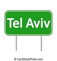 Tel Aviv road sign. - Tel Aviv road sign isolated on white...