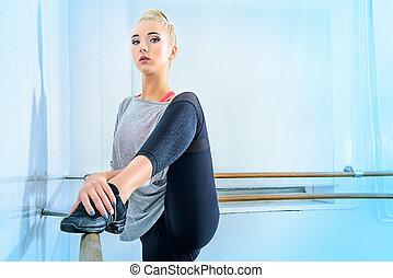 ballet class - Modern ballet dancer in a ballet class.