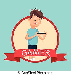 gamer smartphone video playing banner blue backgroung vector...