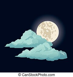 night sky moon clouds