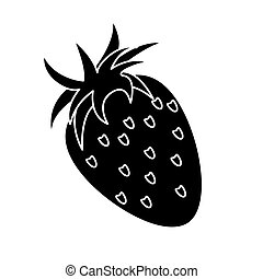 strawberry healthy fruit nature silhouette