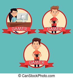 collection gamers devices playing banner blue backgroung...