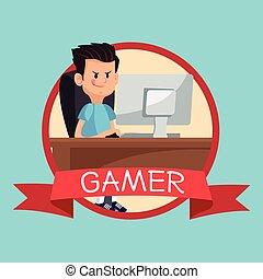 gamer computer online desk banner blue backgroung - gamer...