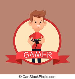 gamer red tshirt control banner brown backgroung vector...
