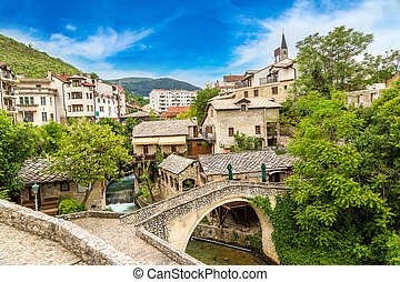 Historical center in Mostar in a beautiful summer day,...