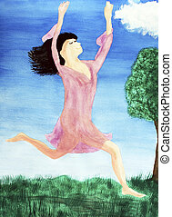 Leaping Lady in Between Heaven and Earth