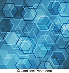 Abstract blue gradient background with hexagon