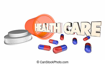 Health Care Medicine Prescription Pill Capsule Bottle 3d Illustration