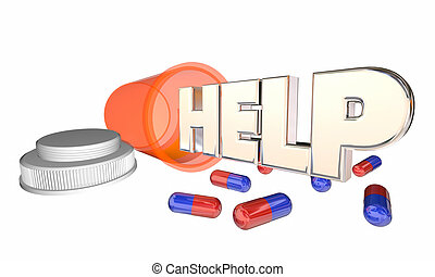 Help Medicine Health Care Assistance Pill Bottle Feel Better 3d Illustration
